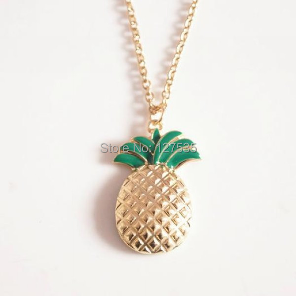 10 pcs/lot  fashion jewelry metal fruits pineapple pendant necklace