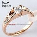 A1-r024 italina rigant solitario anillo de compromiso de la boda de novia joyería del rhinestone 18kgp sz 5.5-10