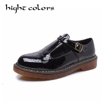 New Fashion Spring Autumn Shoes Woman Retro Vintage T Strap Mary Janes Brogues Oxfords Shoes For