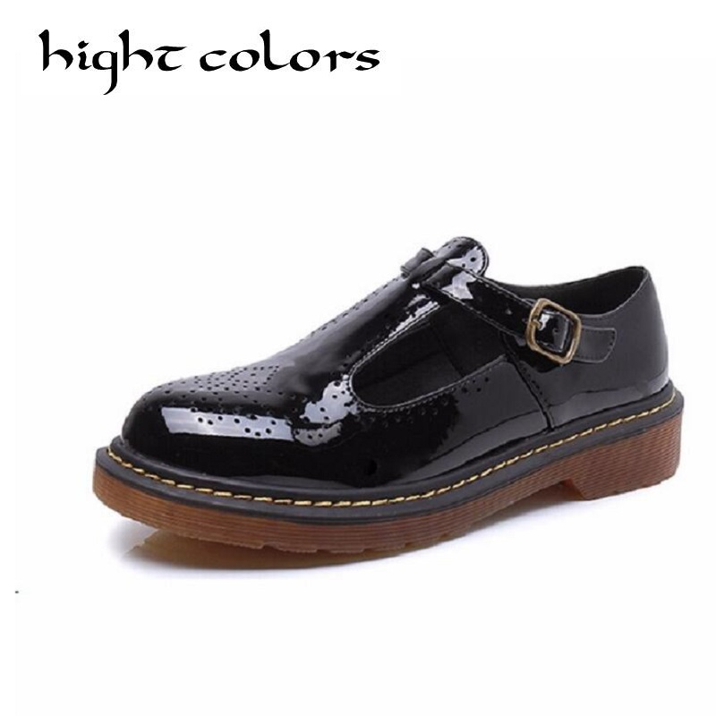 Fashion Patent T-strap Women Flats Ladies Casual Round Toe Ankle Strap Flat Carved Brogue Oxford Shoes Size 34-43 Women Oxfords new round toe slip on women loafers fashion bow patent leather women flat shoes ladies casual flats big size 34 43 women oxfords