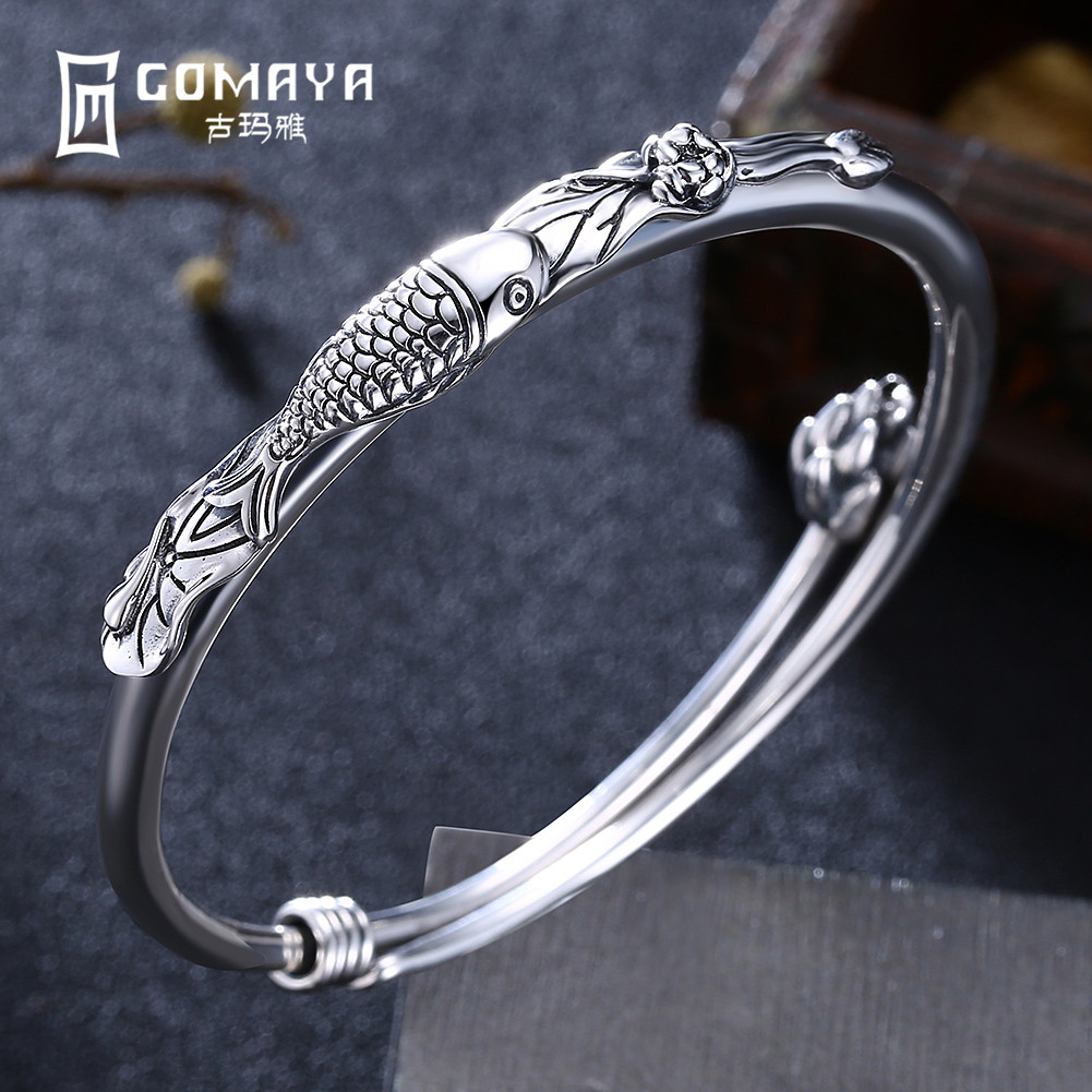 GOMAYA Genuine 999 Sterling Silver Fish Bangles for Women Ethnic Fine Accessories Jewelry Engagement Gift High Quality