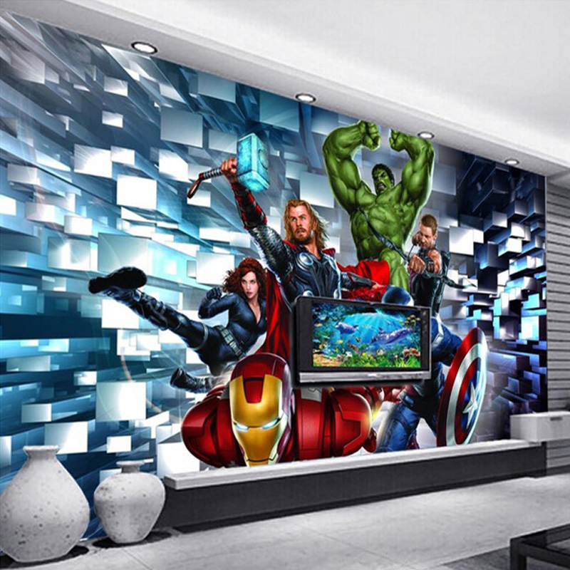 Custom Size 3D Cartoon Hero Characters Wall Mural Childrenu0027s Bedroom Living  Room TV Sofa Background 3D Part 90