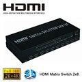 Full HD 1080 P 4 К 3D 2x8 HDMI Матричный Коммутатор 2 В 8 ВЫХОД HDMI Splitter 3840X2160/30 ГЦ с Пультом Дистанционного управления Для ПК PS3 DVD
