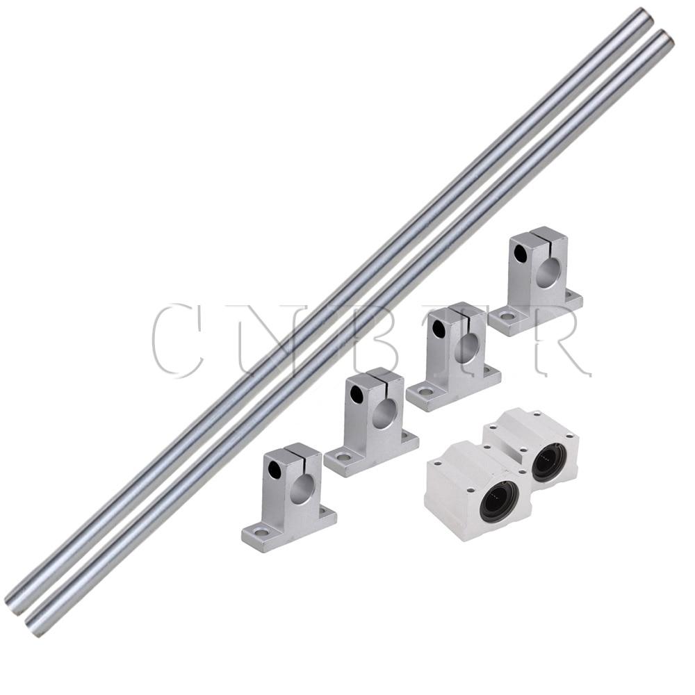 2pcs CNBTR OD12 x 400mm Shaft Optical Axis& Ball Slide Rail Support with Bearing цены