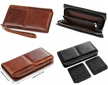 New Men Genuine Leather Clutch Removable Card Holder Wallet Wristlet Cowhide Bag
