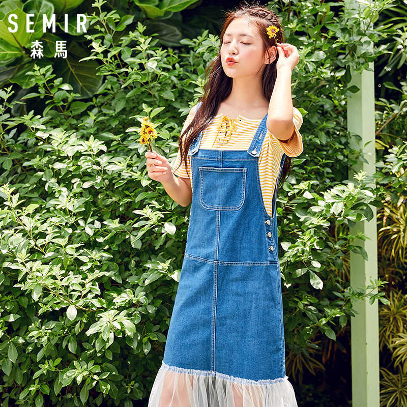 SEMIR Платье женское студенческое летнее Новое шифоновое платье на бретелях тонкое джинсовое платье для студентов свежее