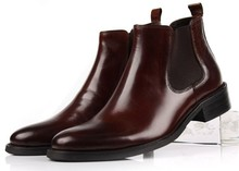 Large size EUR45 Brown tan black man business shoes ankle boots genuine leather mens shoes fashion