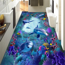 beibehang Fashion high quality personalized wallpaper sea world seaweed coral dolphin 3d flooring three-dimensional painting beibehang high quality custom wallpaper floor shark dolphin waterfall 3d three dimensional painting pvc self adhesive wallpaper
