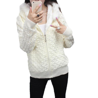 2018 New Fashion Women Autumn Winter Hooded Knitting Short Coats Female Faux Fur Collar Slim Plus Size 4XL Sweater Cardigans F24