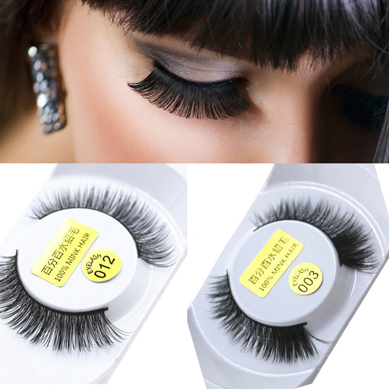 Hot 100% Mink Hair Long Natural Eye Lashes False Eyelashes Extension Party Makeup ht