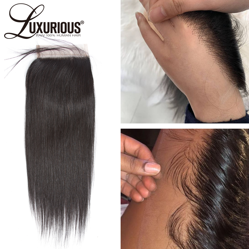Invisible HD Lace Closure Straight Brazilian Remy Human Hair 4X4 Lace Frontal Closure With Baby Hair