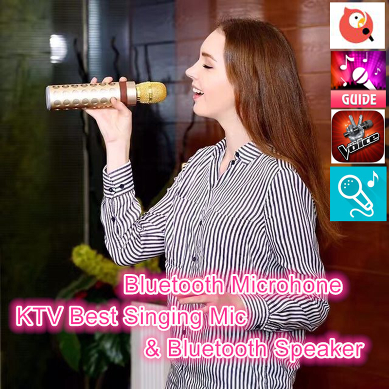 Bluetooth Speaker V4.1 Wireless Karaoke Player Microphone With Mic KTV Singing Record Microphone for Android IOS Phone Computer leory micgeek mi520 multifunctional karaoke sing microphone change dsp mobile national broadcast singing mobile phone card