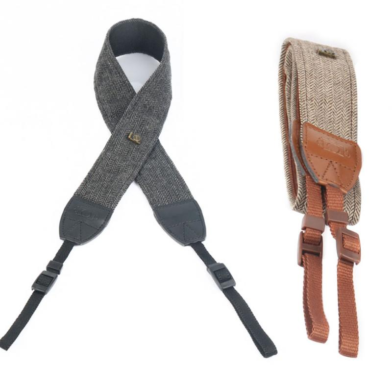 Leather Camera Strap Universal Digital Brown Camera Shoulder Neck Vintage Gray Strap Belt For SLR Cameras Strap Accessories image