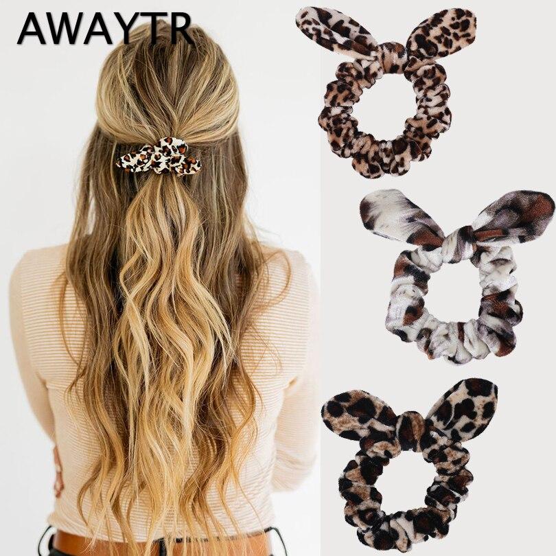 AWAYTR Leopard Print Velvet Scrunchies Girls Elastic Hair Band Bunny Ear Velvet Hair Tie Women Scrunchie Hair Rope Gum Headwear