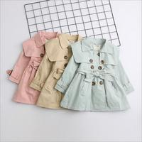 wholesale children girls wide collar long button trench fashion 2018 fall jacket outwear coat for kids cotton clothing