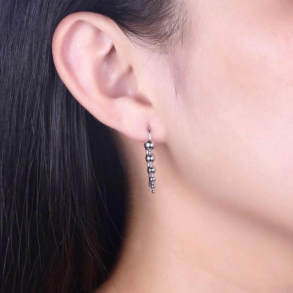 Ear Crawler Earrings Real 925 Sterling Silver Ball Climber Earring Cuff Stud For Women S Hypoallergenic Jewelry