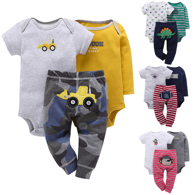 New Baby Boy 3 Miếng Dài Tay Áo Ngắn Tay Áo Bodysuit và Quần đặt Phù Hợp Với Cơ Thể Trẻ Sơ Sinh mềm Bebes Quần Áo set