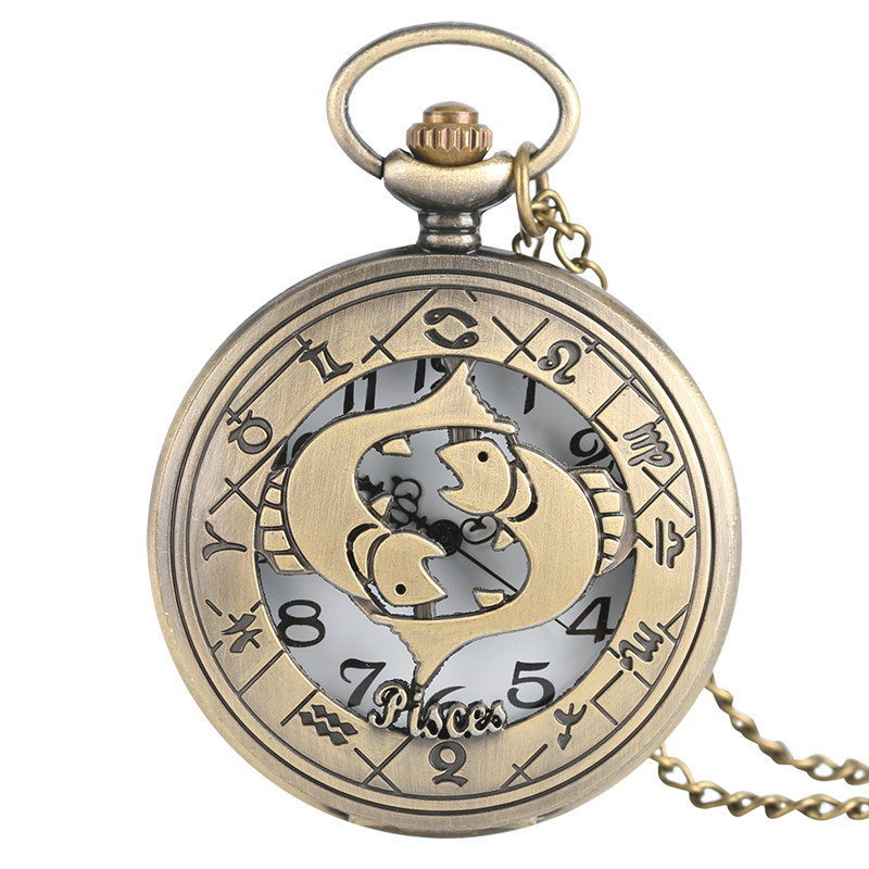 Twelve Constellations Pisces Necklace Bronze Quartz Pocket Watch Pendant Chain Half Hunter Cute Fish Pattern Gift For Boys Girls