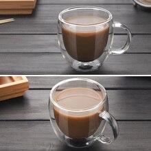 купить Drinkware Coffee Cups Tea Set Transparent  Mugs Beer Drink Office Mug Double Glass Cup Simple style по цене 310.68 рублей
