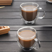 Transparent Drinkware Coffee Cups Tea Set Mugs Beer Drink Office Mug Double Glass Cup Simple style(China)