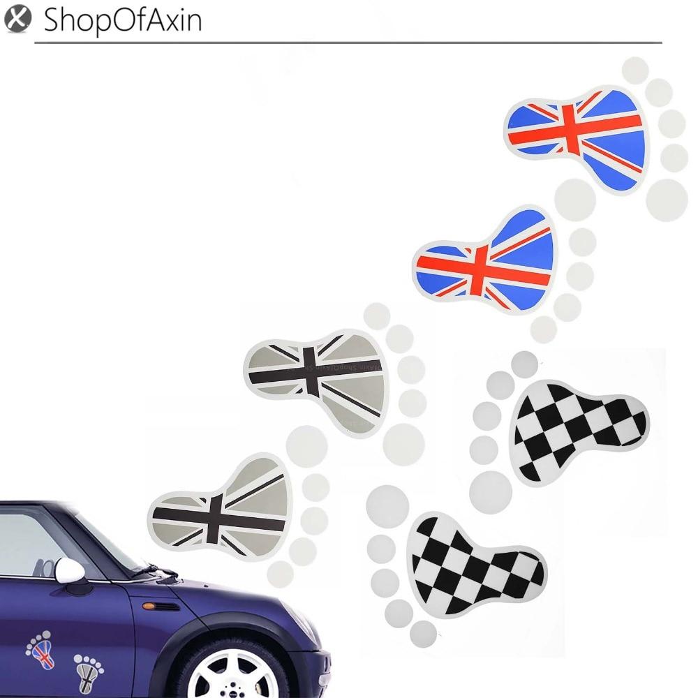 medium resolution of cute footprints union jack car decorative stickers label for mini cooper mix lot fashion