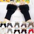 Fashion New Hot Selling Women Winter Knitted Fingerless Wrist Hand Warmer Faux Rabbit Fur Gloves Mittens For Winter Women A1 Q1