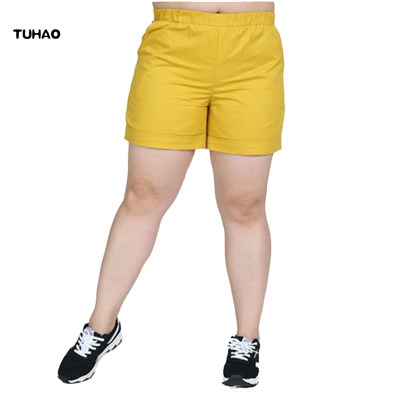 TUHAO high quality Summer   Short   2018 5XL 6XL 7XL Plus Size Casual Cotton   Shorts   women's   shorts   Eleastic Waist   Shorts   LS06