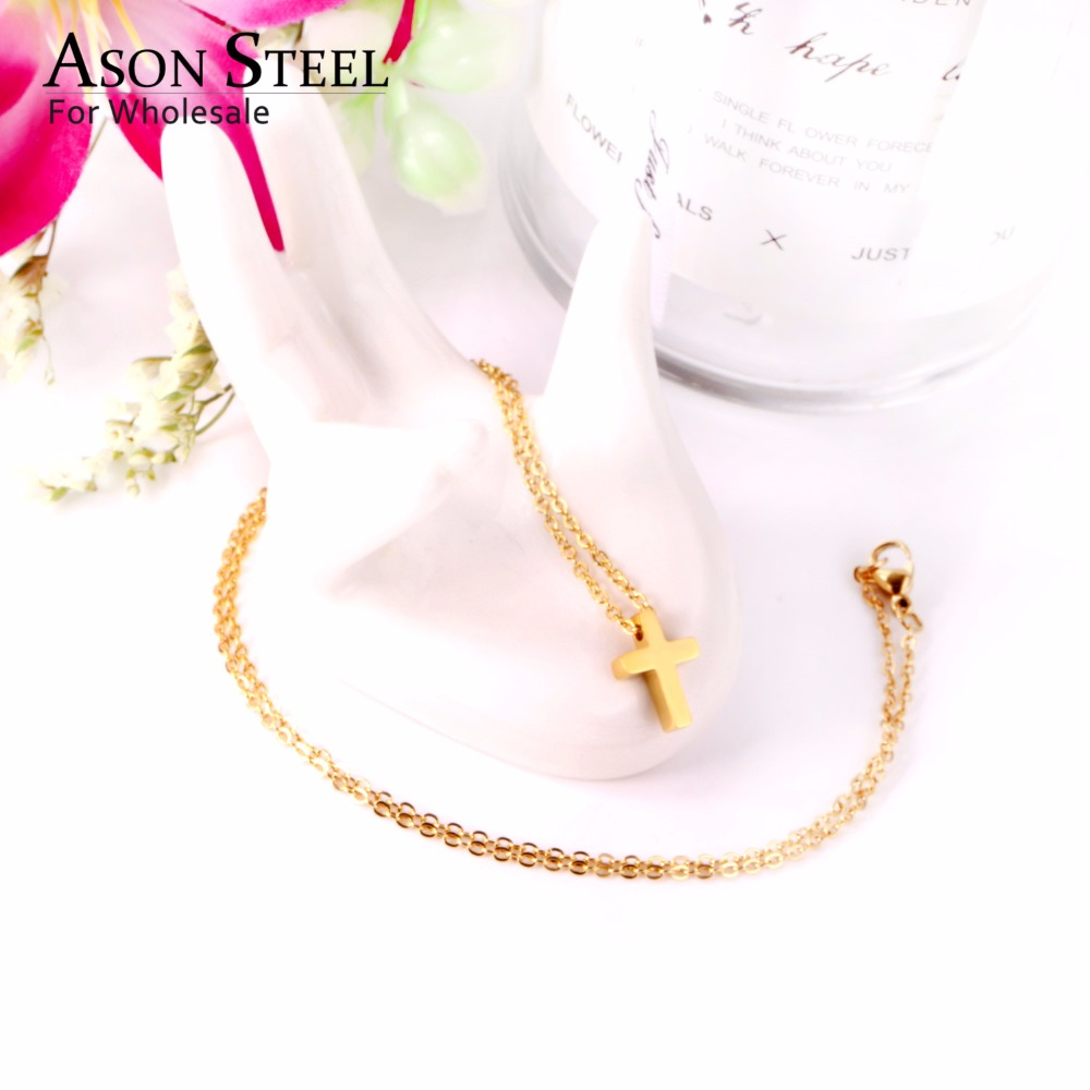 45cm Top 316L Stainless Steel Heart Moon Star CrossPendant Long Link Chains Necklaces Set Gold For Women Choker Necklace Jewelry 23