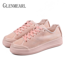 Women Casual Shoes Platfrom Brand White Shoes Flats Woman Sneakers Lace Up Round Toe Spring Autumn Plus Size Running Shoes DE