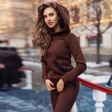 Woman Fashion 2019 Winter 2 Piece Sets Women Knitted Sweatshirt Warm Ensemble Sport Femme Tracksuit Outfits Velour Two Piece Set