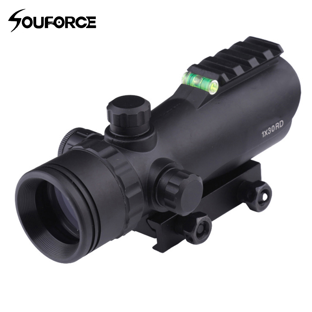 Tactical Airsoft 1X30 Rifle Scope Adjustable Red Green Optical Sight With Spirit Bubble Level for Hunting Shooting ...