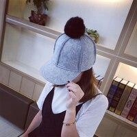 HT1313 Women Wool Felt Winter Hat with Rabbit Fur Pompom Ball Korea 6 Panels Female Equestrian Cap Black Grey Formal Hat for Men