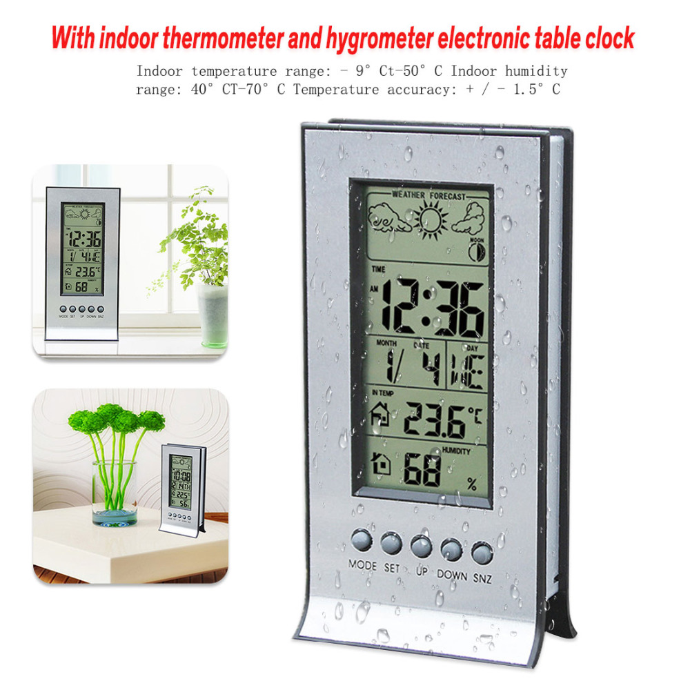 New Wireless Weather Station With Wireless Sensors Meter Station Thermometer Hygrometer Alarm Clock Calendar Temperature Records
