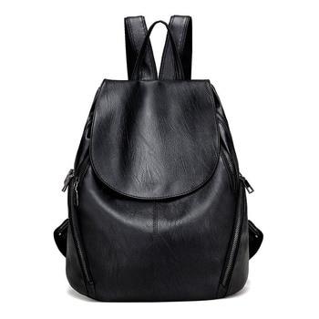 High Quality PU Leather Women Backpack Fashion Solid School Bags For Teenager Girls Casual Women Black Backpacks Mochila Escolar new corduroy backpack high quality school bags for teenger girls casual travel backpacks solid color rucksack mochila xa1867c
