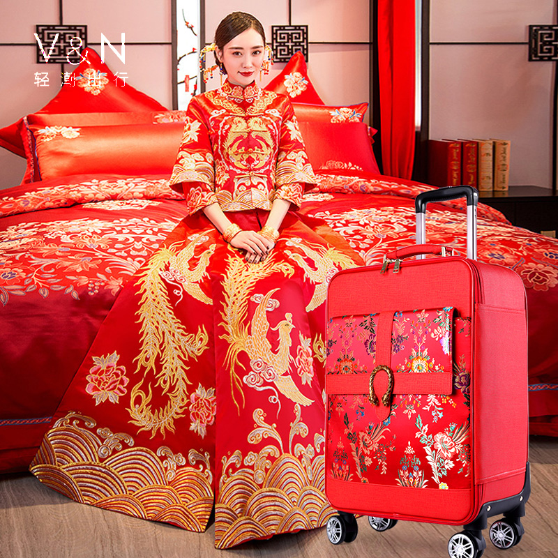 Travel tale China red 16/20 inch Chinese embroidery PU Rolling Luggage Spinner brand Chinese style Suitcase Travel tale China red 16/20 inch Chinese embroidery PU Rolling Luggage Spinner brand Chinese style Suitcase