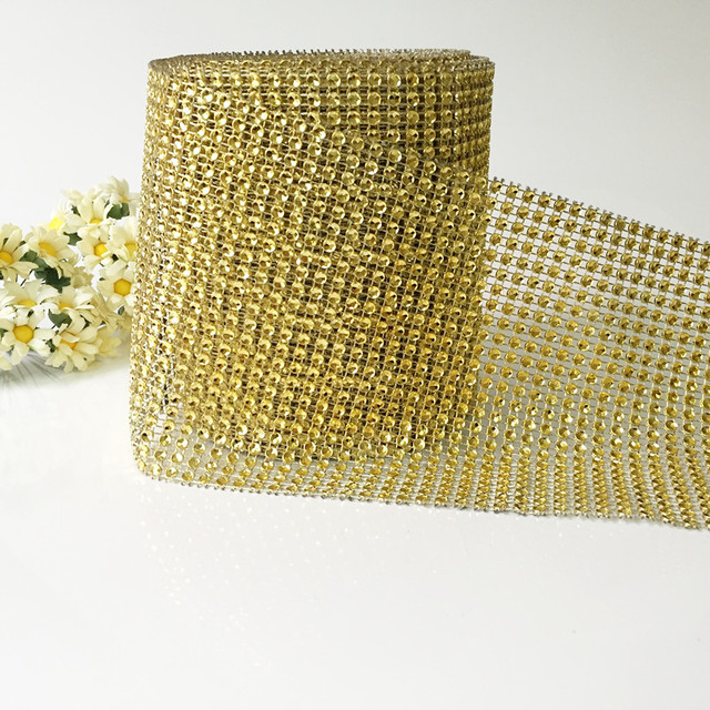 24rows10Yards GLOD Diamond Mesh Bling Crystal Rhinestone Ribbon Wrap ...