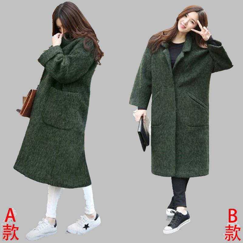 2016 Autumn Winter New Han edition Loose Medium long Woolen cloth font b Coat b font