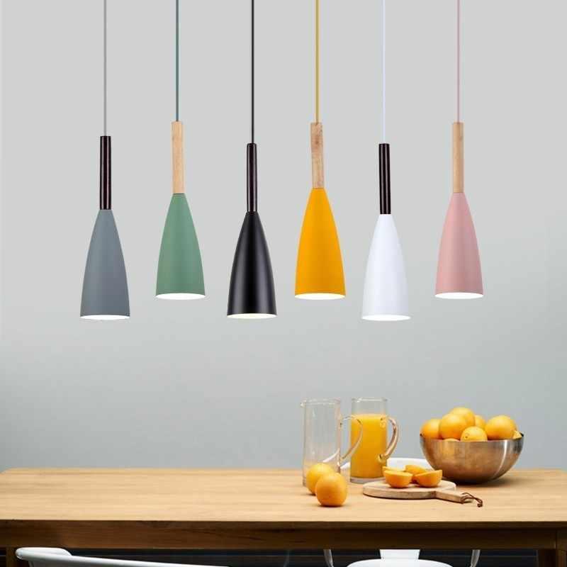 الخشب قلادة أضواء E27 LED الحديثة Hanglamp الشمال مصباح غرفة المعيشة المطاعم المطبخ الطعام بار Droplight
