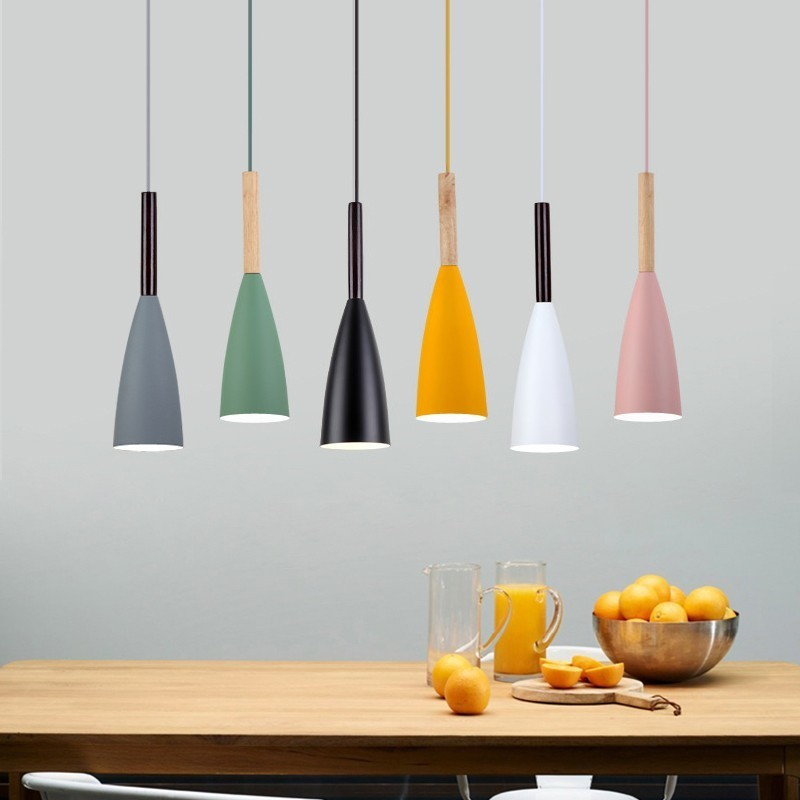 Modern Wood Pendant Lights Bar Restaurant Decor Colorful Lamp Nordic Pendant Lamp Hanging Lamp For Dining Room