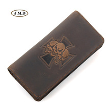 J.M.D New Style Genuine Leather Unique Design Brown Color Mens Popular Purse Long Wallet Card Hoder 8116R