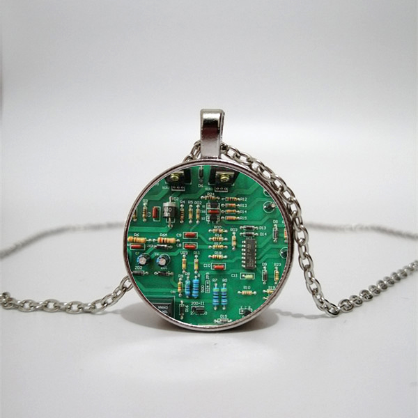 Circuit Board Necklace Unique PCB LAYOUT Pendant Necklace Electronic Enthusiast Glass Necklace Gift in Pendant Necklaces from Jewelry Accessories