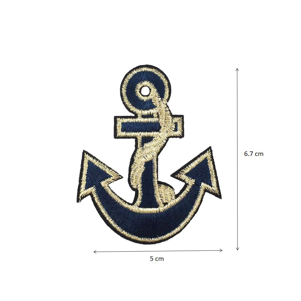 Nautical Anchor Met Gold Embroidered Iron On Patch 2 In