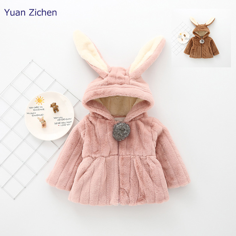 Girls Jacket For Babies New Winter Clothes Rabbit Ears Outerwear Coat Thick Kids Children Clothing With Hooded Winter Coveralls 2016 winter children clothes girls sports hooded cotton padded jacket coat for girls kids clothing long thick jackets outerwear