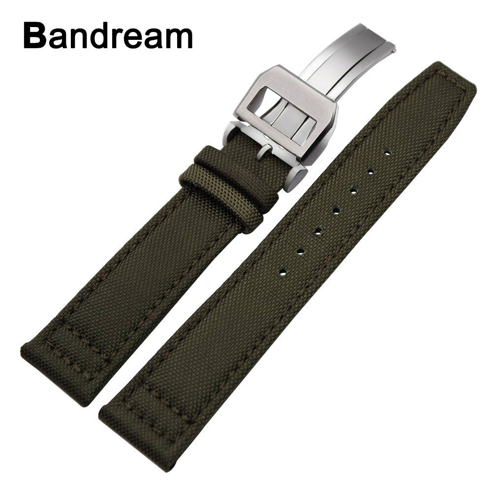 Canvas Nylon + Genuine Leather Watchband 20/21/22mm for IWC Pilot Portugieser Mark Portofino Watch Band Steel Buckle Wrist Strap 19mm 20mm 21mm 22mm croco genuine leather watchband for iwc watch stainless steel buckle strap band wrist belt bracelet tool