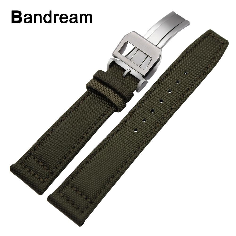 Canvas Nylon + Genuine Leather Watchband 20/21/22mm for IWC Pilot Portugieser Mark Portofino Watch Band Steel Buckle Wrist Strap