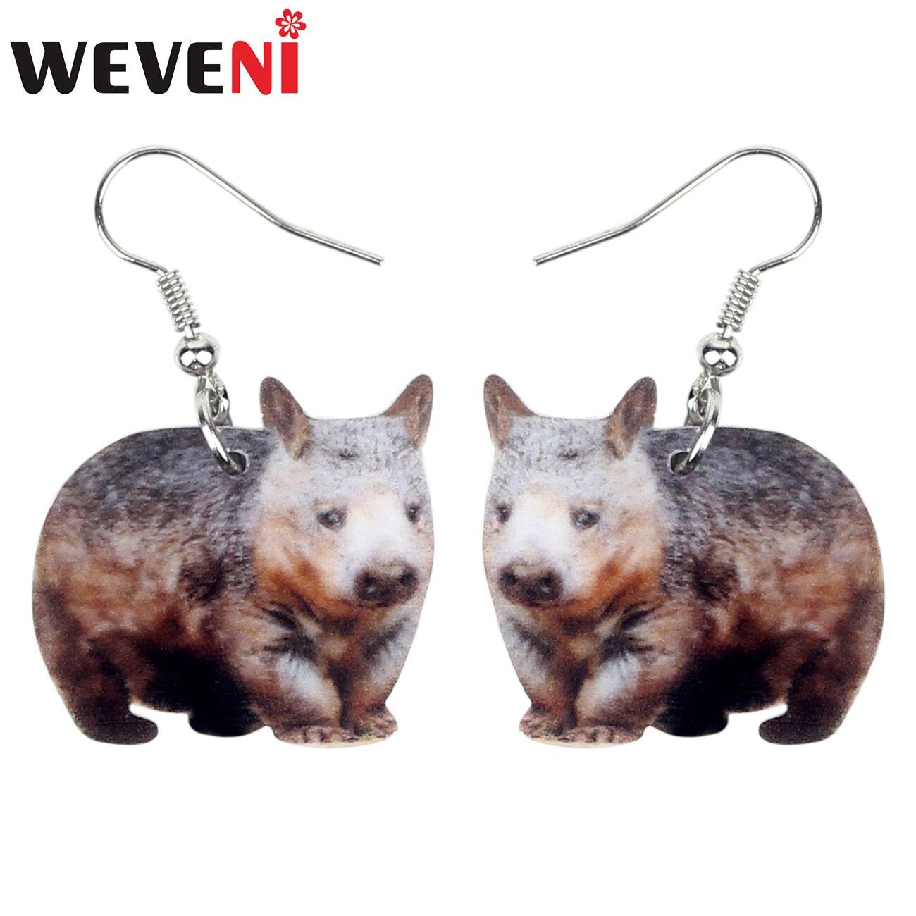 WEVENI Acrylic Australian Wombat Earrings Drop Dangle Cartoon Fun Animal Jewelry For Women Girls Charms Souvenir Gift Brincos