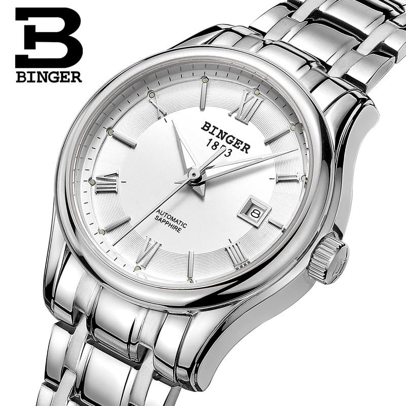 Switzerland BINGER Women's Watches Luxury Brand Watch Women Mechanical Wristwatches Sapphire Stainless Steel Montre Femme B5002L