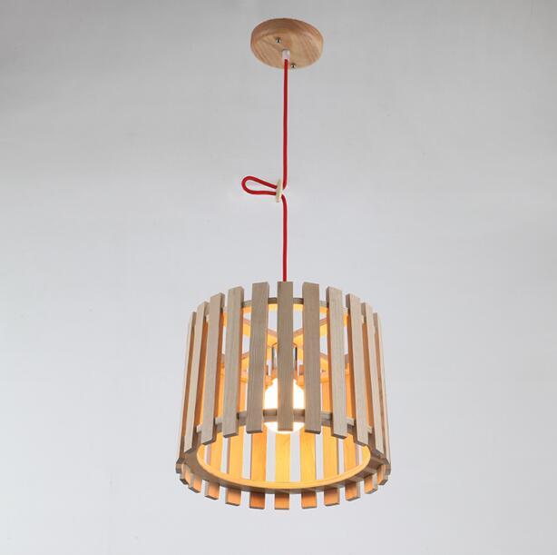 Modern Chinese Style Solid Wood Circular Restaurant Chandelier Fashion Creative Bar Bedroom Study Wood Chandelier Free Shipping