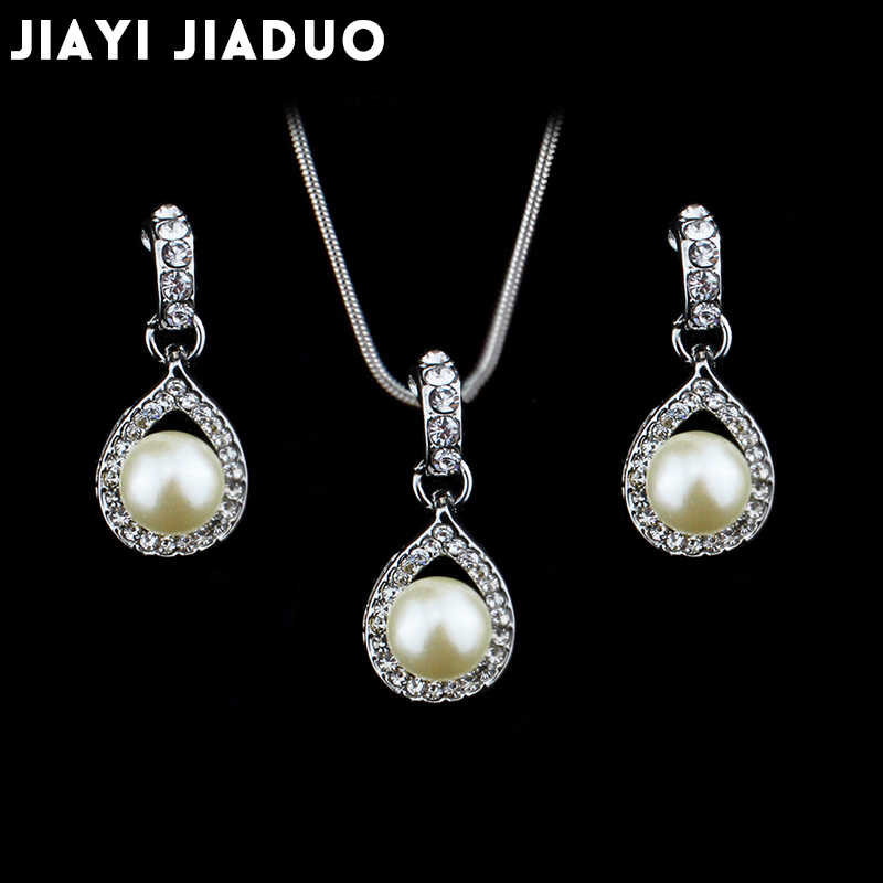 Fashion Women Necklace Earrings Jewelry Sets Crystal Gold Color Big Simulated Pearl Wedding Party Jewelry Sets For Women
