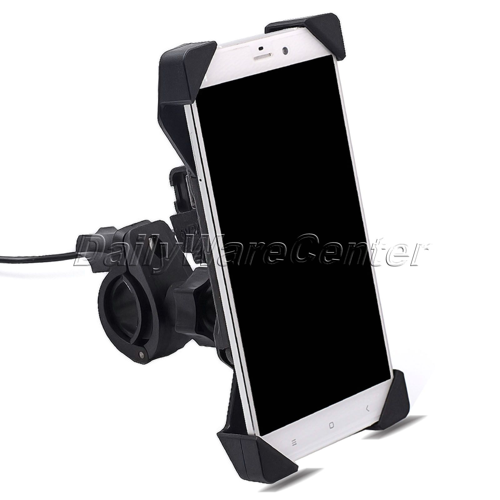 Universal Motorcycle MTB Motorbike Handlebar Mount Mobile Cell Phone Holder with USB Charger Retractable Phone Holder Grip